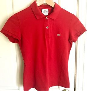 Lacoste Red Pique Polo Shirt 36 2-4 XS